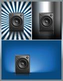 Svart hög högtalare på annan bakgrund Arkivfoton