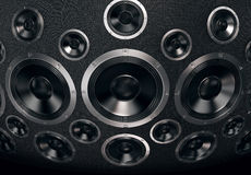 Svart högtalarevägg - svart bakgrund Royaltyfri Fotografi