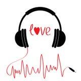 Svart hörlurarsymbol med röd kabel i form av kardiogrammet papper för förälskelse för bakgrundskortgrunge Texthjärta Plan design  Arkivfoto