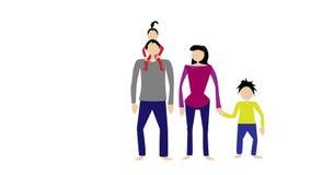 Svart haired familj på en vit bakgrund vektor illustrationer