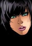 svart haired kvinna vektor illustrationer