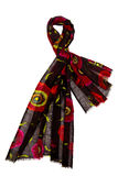 Svart halsduk med blom- design Royaltyfri Fotografi