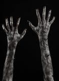 Svart hand av död, gå absolut, levande dödtema, halloween tema, levande dödhänder, svart bakgrund, mammahänder Royaltyfri Foto