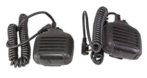 Svart handheld dynamisk mikrofon för radiokommunikation på whit Arkivfoto