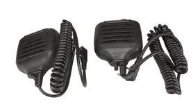 Svart handheld dynamisk mikrofon för radiokommunikation på whit Royaltyfri Fotografi