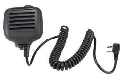 Svart handheld dynamisk mikrofon för radiokommunikation på whit Fotografering för Bildbyråer