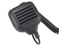Svart handheld dynamisk mikrofon för radiokommunikation på whit Royaltyfri Foto