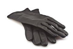 svart handskeläder Arkivfoto