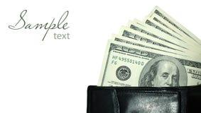 Svart handväska med dollar Arkivbilder