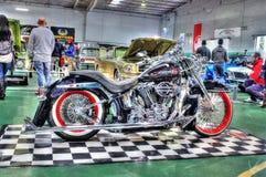 Svart Harley Davidson motorcykel Fotografering för Bildbyråer