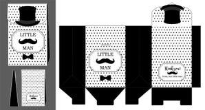 Svart hatt, mustasch och fluga Tryckbar mall för liten födelsedag för man` s Arkivfoto