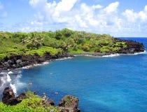 svart hawaii maui för strand sand Royaltyfri Fotografi