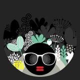 Svart head kvinna med konstigt hår. royaltyfri illustrationer