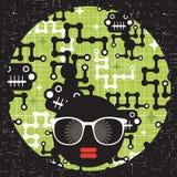 Svart head kvinna med konstigt modellhår. vektor illustrationer