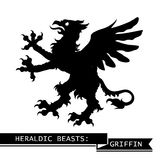 Svart heraldisk grip stock illustrationer