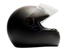 svart hjälmmotorcykel Royaltyfri Foto
