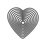 Svart hjärta på vit bakgrund Optisk illusion av tredimensionell volym 3D pennor in för blyertspenna för illustratör för tecknad f Arkivfoton
