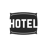 Svart hotelllogo med kudden Arkivfoto