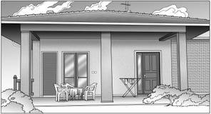 svart huswhite Arkivfoto
