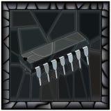 Svart illustration för vektor av mikrochipens Royaltyfri Fotografi