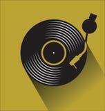 Svart illustration för vektor för begrepp för lägenhet för diskett för vinylrekord Stock Illustrationer