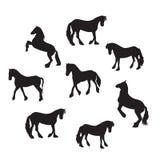 Svart illustration för vektor för hästkonturuppsättning Royaltyfri Fotografi