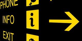 svart info teckenyellow för flygplats Arkivbild