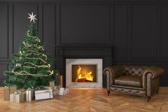 Svart inre för klassiker med julträdet, spis, vardagsrumfåtölj vektor illustrationer