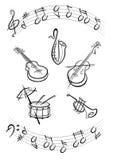 svart instrumentmusik Stock Illustrationer