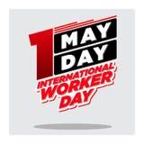 Svart internationell arbetare för Maj dag day_red och vektor illustrationer