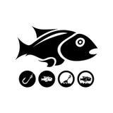 Svart isolerad fisk Arkivbild