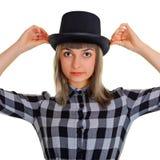 svart isolerad silk white för flicka hatt Fotografering för Bildbyråer