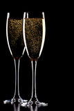 svart isolerat champagneexponeringsglas Arkivfoton