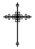 svart isolerat gotiskt för kors Arkivbild