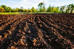Svart jord plogat fält Jordtextur Arkivbild