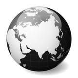 Svart jordjordklot som fokuseras på Asien Med tunna vita meridianer och paralleller glansig vektorillustration för sfär 3D Royaltyfri Bild