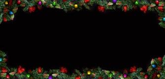 Svart julbakgrund med tomt kopieringsutrymme Dekorativ xmas-ram för begrepp eller kort royaltyfria bilder