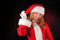 svart julflicka santa Arkivfoton