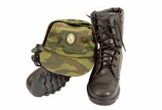 svart kängalock för armé Royaltyfria Bilder