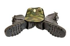 svart kängalock för armé Arkivfoto
