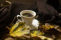Svart kaffe och höstsidorna, höstbakgrund arkivfoto