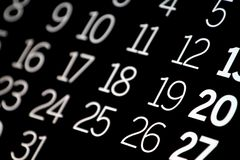 svart kalender Royaltyfria Bilder