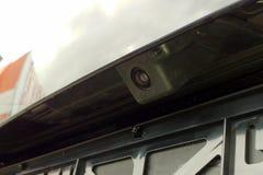 Svart kamera för bakre sikt med packningen på en bil close upp royaltyfria foton