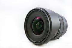 Svart kameralins som isoleras på vit bakgrund Fotografering för Bildbyråer