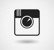Svart kamerasymbol som isoleras på vit bakgrund Vektorsamkvämmassmedia Royaltyfri Bild