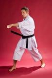 svart karateman för bälte royaltyfria foton