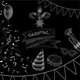 Svart karnevalbakgrund med musik och flaggor royaltyfri illustrationer