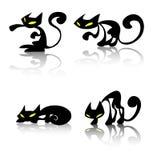 svart katt stock illustrationer
