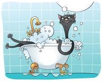 svart katt för bad royaltyfri illustrationer