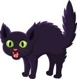 Svart katt för skrämd tecknad film Royaltyfri Foto